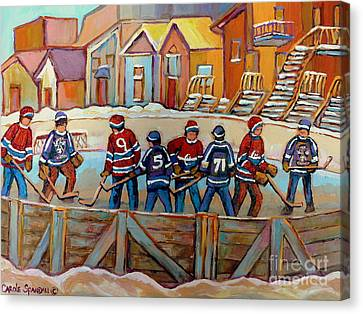 Pointe St. Charles Hockey Rinks Near Row Houses Montreal Winter City Scenes Canvas Print by Carole Spandau
