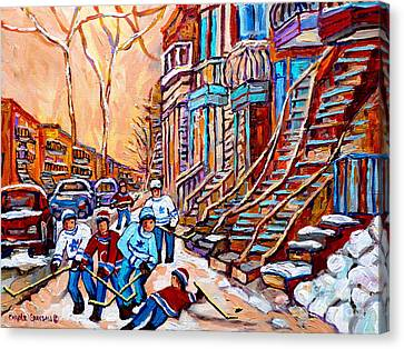 Hockey Canvas Print - Pointe St.charles Hockey Game Near Winding Staircases Montreal Winter City Scenes by Carole Spandau