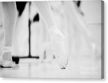 Pointed Toe In Ballet Slippers At A Ballet School In The Uk Canvas Print by Joe Fox