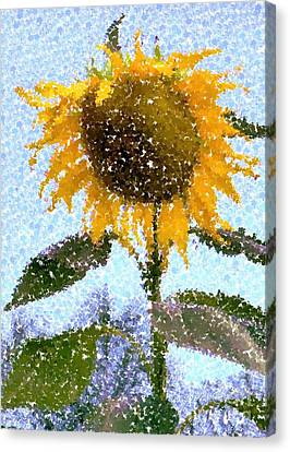 Pointillist Sunflower In Sun City Canvas Print