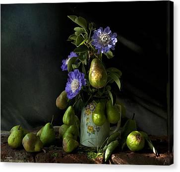 Poires Et Fleurs Canvas Print by Theresa Tahara