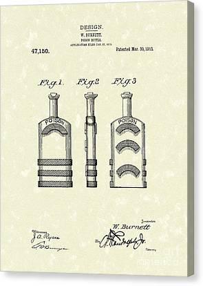 Poison Bottle 1915 Patent Art Canvas Print by Prior Art Design