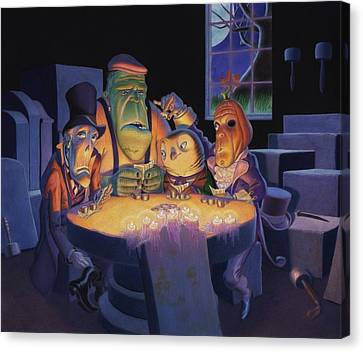 Candle Lit Canvas Print - Poker Buddies by Richard Moore