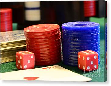 Poker Chips Canvas Print by Paul Ward