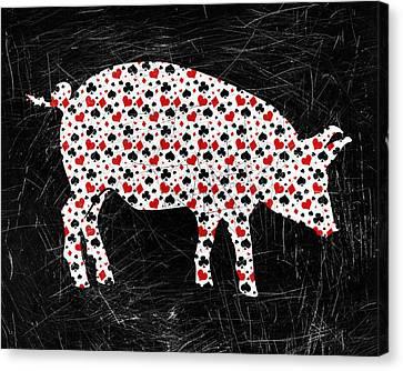 Pig Canvas Print - Poker Pig by Flo Karp