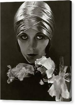 Woman Head Canvas Print - Pola Negri Wearing A Head Wrap by Edward Steichen