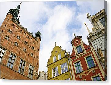 Poland, Gdansk Town Hall And Rooflines Canvas Print