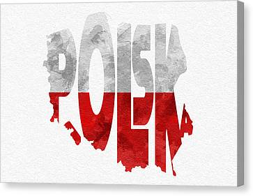 Poland Typographic Map Flag Canvas Print by Ayse Deniz
