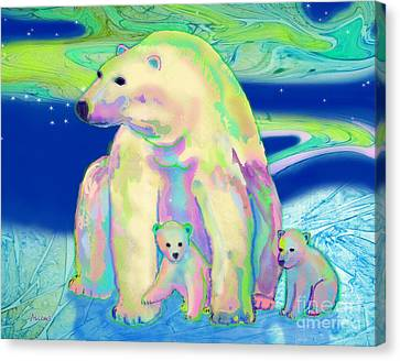 Polar Bear Aurora Canvas Print by Teresa Ascone