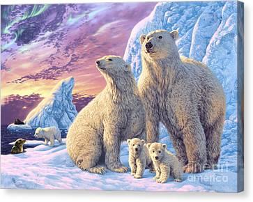 Polar Bear Family Canvas Print by Steve Read