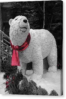 Polar Bear Made Of Mums Canvas Print