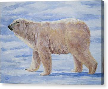 Polar Bear Mini Painting Canvas Print by Crista Forest