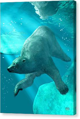 Polar Bear Underwater Canvas Print by Daniel Eskridge
