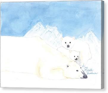 Polar Bears Canvas Print by Ann Michelle Swadener