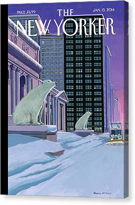 Polar Bears Sit Outside The New York Public Canvas Print by Bruce McCall