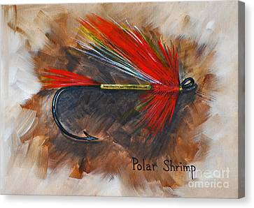 Canvas Print featuring the painting Polar Shrimp Fishing Fly by Cynthia Lagoudakis