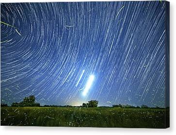Polar Star Trails And Fireflies Canvas Print by Luis Argerich