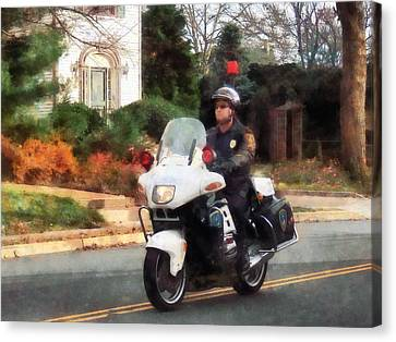 Police - Motorcycle Cop On Patrol Canvas Print by Susan Savad