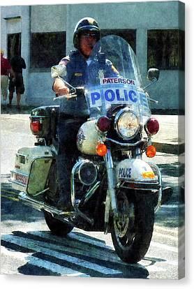 Police - Motorcycle Cop Canvas Print by Susan Savad