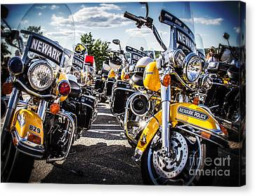 Canvas Print featuring the photograph Police Motorcycle Lineup by Eleanor Abramson