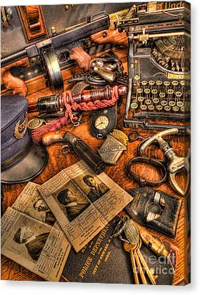 Police Officer - The Detective's Desk  Canvas Print by Lee Dos Santos