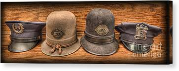 Police Officer - Vintage Police Hats Canvas Print by Lee Dos Santos