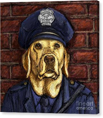 Police Officer Lab - Yellow Labrador Retriever Canvas Print by Kathleen Harte Gilsenan