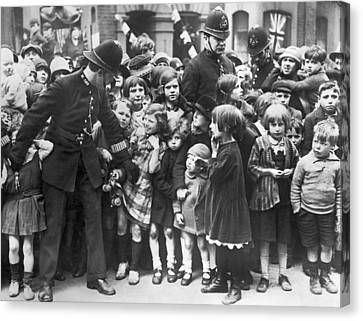 Police Restraining Children Canvas Print by Underwood Archives