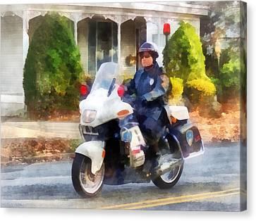 Police - Suburban Motorcycle Cop Canvas Print by Susan Savad