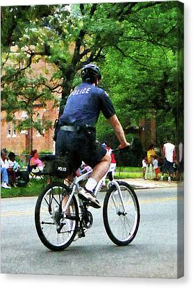 Policeman - Police Bicycle Patrol Canvas Print by Susan Savad