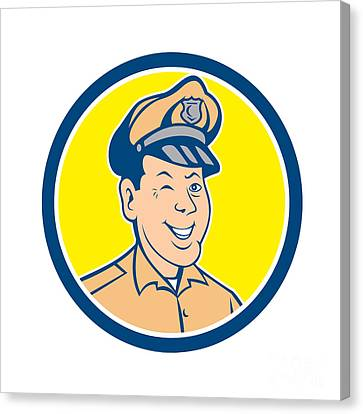 Police Officer Canvas Print - Policeman Winking Smiling Circle Cartoon by Aloysius Patrimonio