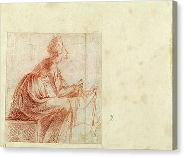 Polidoro Da Caravaggio, Woman Seated With A Piece Of Cloth Canvas Print by Quint Lox