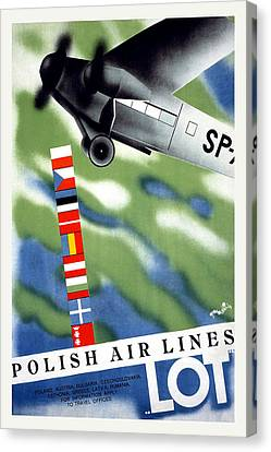 Polish Airlines Travel Poster Canvas Print by Unknown