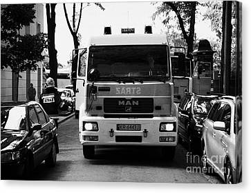 Polish Fire Brigade Fire Guard Straz Krakow Vehicle Parked In Middle Of City Street Firefighter Attending Emergency Call Out Canvas Print