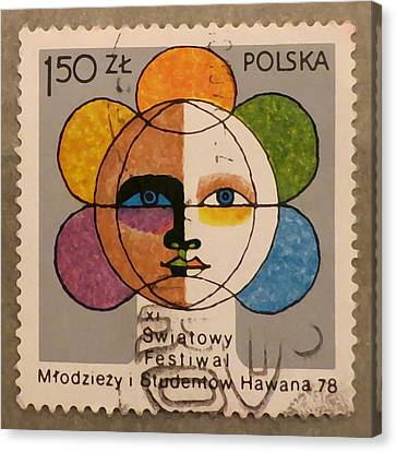Polish Stamp - World Festival Of Youth And Students In Havana 1978 Canvas Print