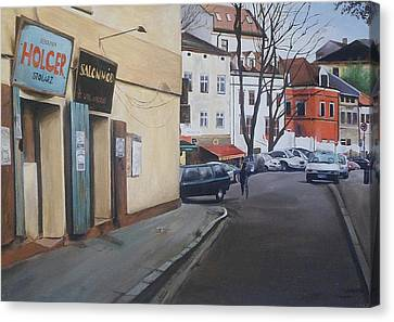 Canvas Print featuring the painting Polish Street by Cherise Foster