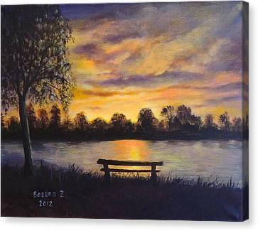 Canvas Print featuring the painting Polish Sunset by Bozena Zajaczkowska