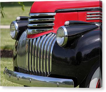 Red Chev Canvas Print - Polished Chrome Grill by E Faithe Lester