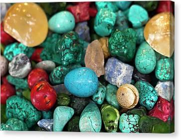 Polished Semi Precious Stones Canvas Print by Photostock-israel
