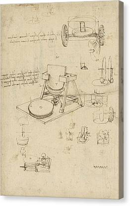 Polishing Machine Formed By Two Wheeled Carriage From Atlantic Codex Canvas Print by Leonardo Da Vinci