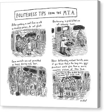 'politeness Tips From The M.t.a.' Canvas Print by Roz Chast