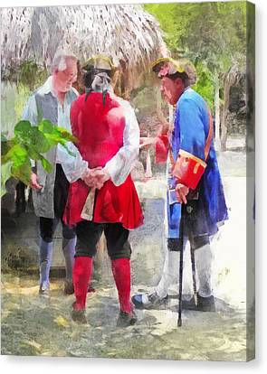 Colonial Man Canvas Print - Political Discussion by Francesa Miller