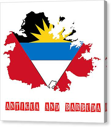 Political Map Of Antigua And Barbuda Canvas Print by Celestial Images