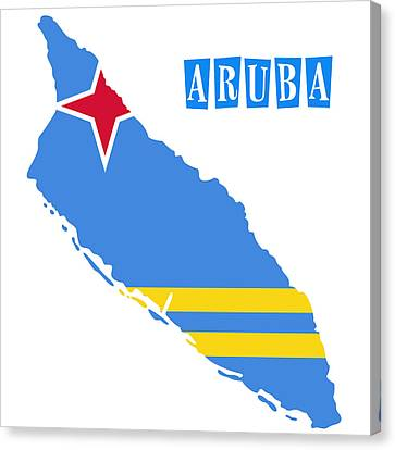 Political Map Of Aruba Canvas Print by Celestial Images