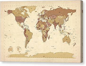 Political Map Of The World Map Canvas Print