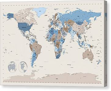 World Map Canvas Print - Political Map Of The World by Michael Tompsett