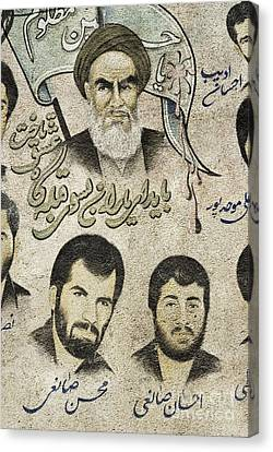 Political Religious Mural Teheran Iran With Ayatollah Khomeini Canvas Print by Jacek Malipan