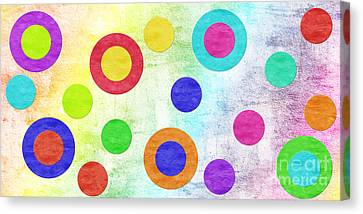 Delicate Canvas Print - Polka Dot Panorama - Rainbow - Circles - Shapes by Andee Design