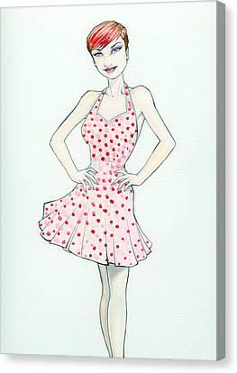 Polka Dot Pink Canvas Print