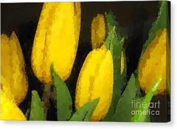 Polka Dot Yellow Tulips Canvas Print by Barbara Griffin